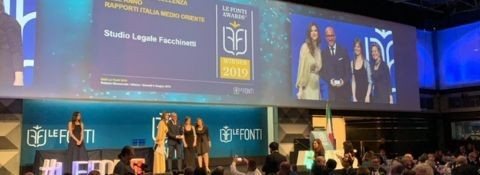 "Milan, June 6, 2019. THE LAW FIRM ""FACCHINETTI"" FOR THE THIRD CONSECUTIVE YEAR HAS BEEN AWARDED AS THE BEST ""LEGAL BOUTIQUE OF EXCELLENCE OF THE YEAR ITALY MIDDLE EAST RELATIONS, 2019 """