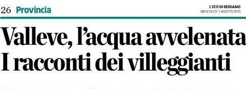 """Bergamo, 7th August 2019 INTERVIEW with the NEWSPAPER """"L'ECO DI BERGAMO"""""""