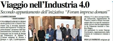 "Cesano Maderno, 4th October 2019 - FORUM IMPRESE DOMANI, hosts Avv. Facchinetti: ""What does  doing business mean today: between analogue and digital"""